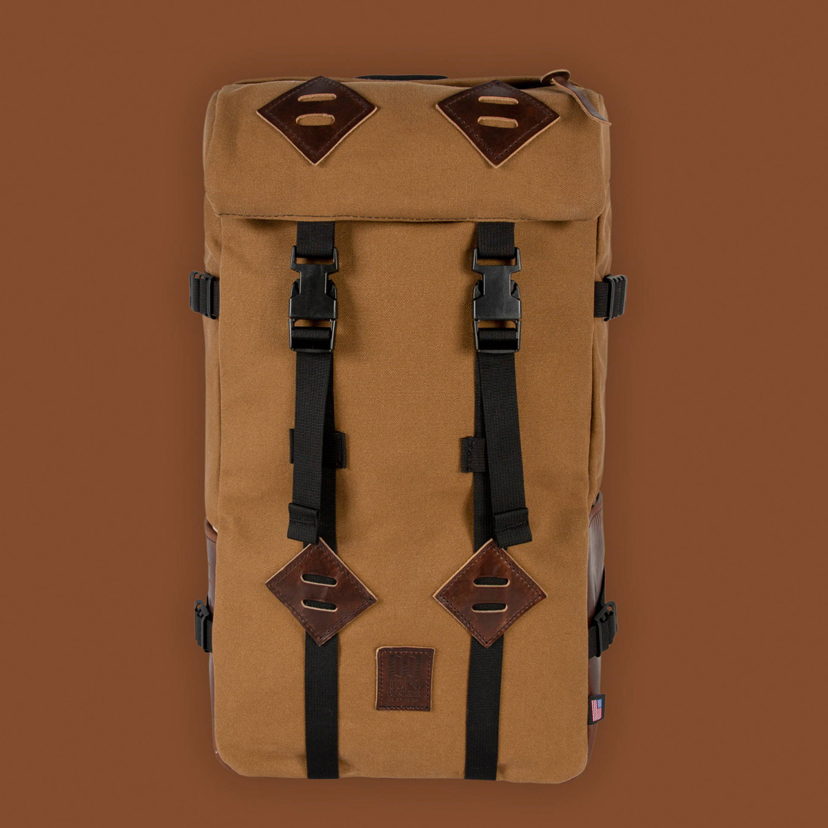Topo Designs Klettersack Heritage Dark Khaki Canvas/Dark Brown Leather Lifestyle, classic backpack for men and women