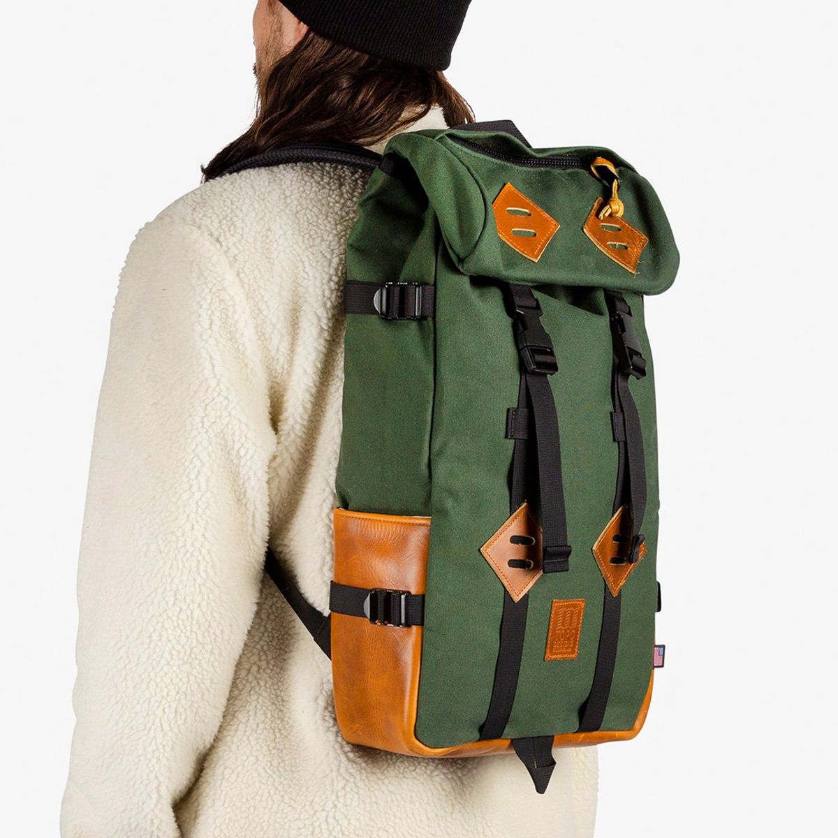 Topo Designs Klettersack Heritage Olive Canvas/Brown Leather, beautiful backpack for men and women