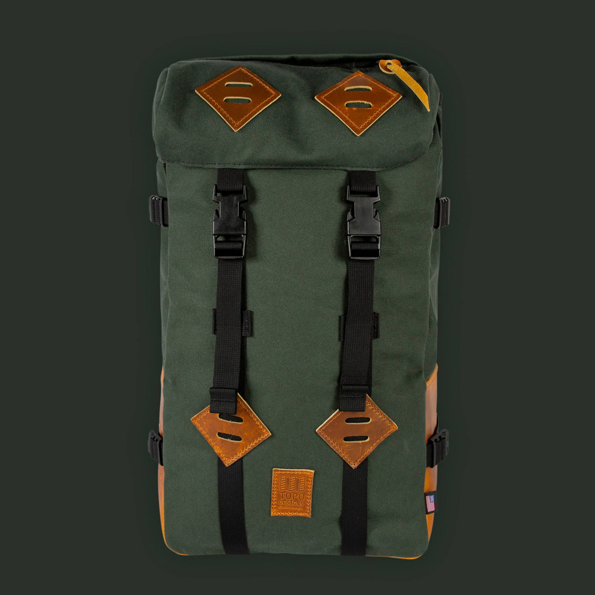 Topo Designs Klettersack Heritage Olive Canvas/Brown Leather, classic backpack for men and women