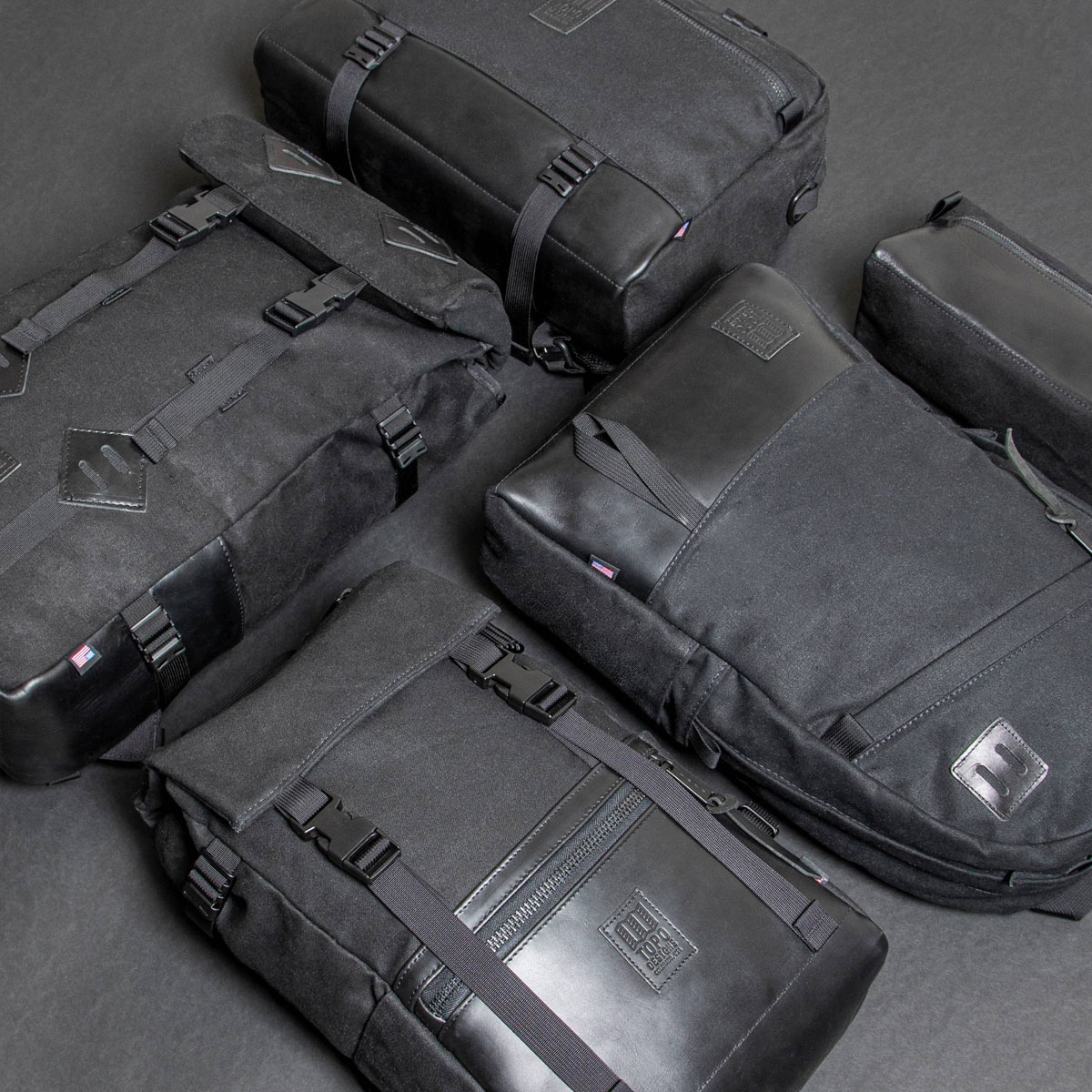 Topo Designs Commuter Briefcase Heritige Black Canvas/Black Leather, shoulder bag and backpack