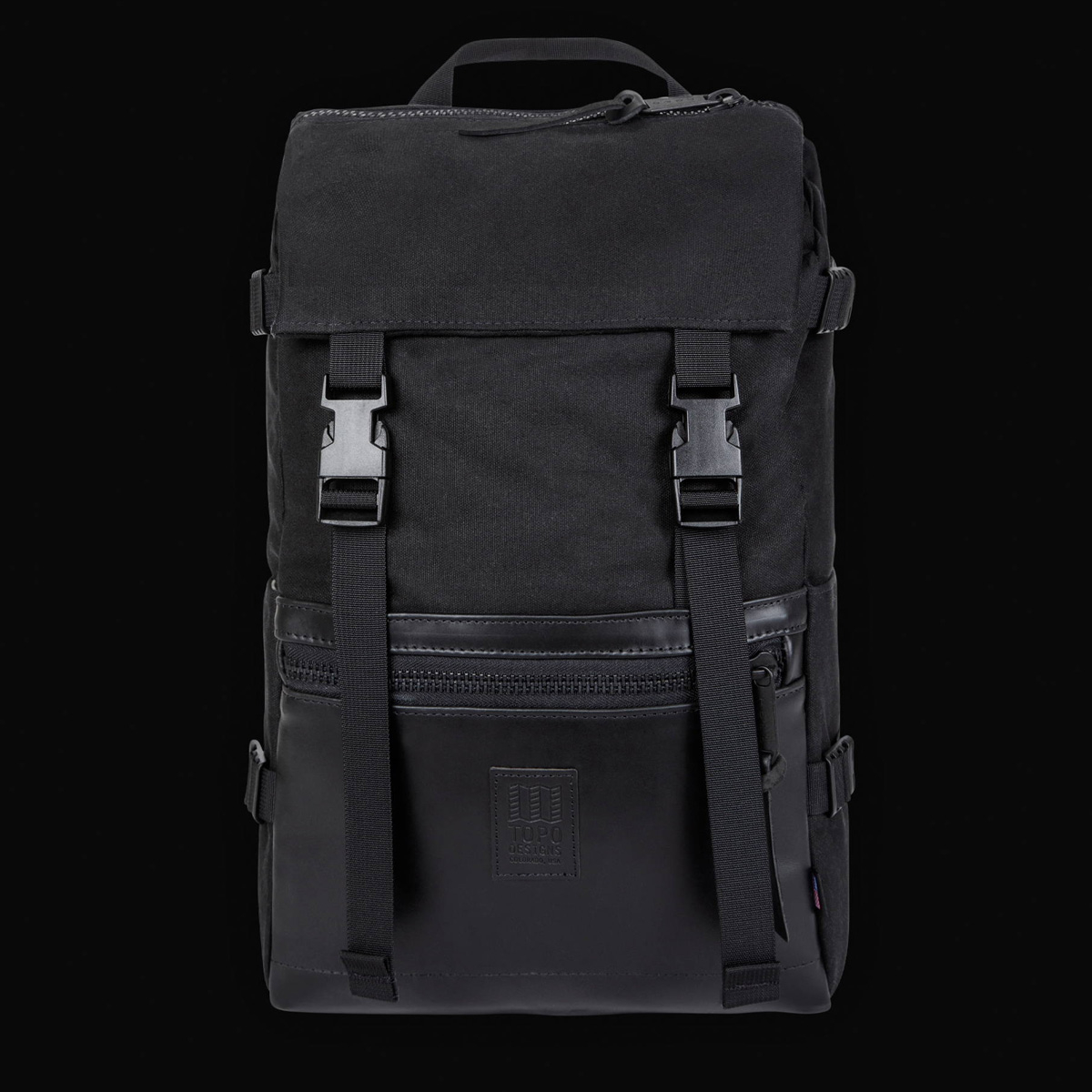 Topo Designs Rover Pack Heritage Black Canvas/Black Leather, timeless backpack with great functionalities