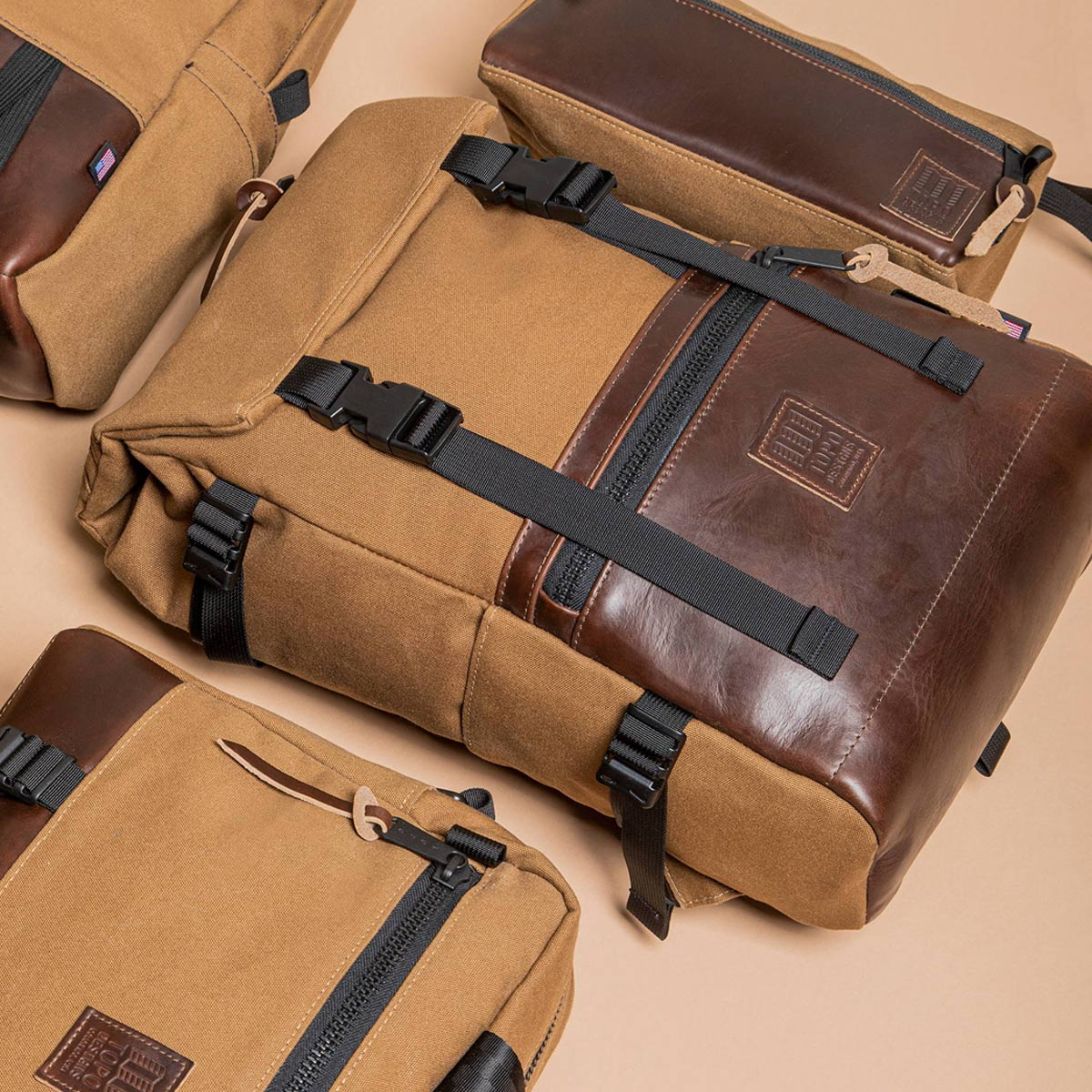 Topo Designs Rover Pack Heritage Dark Khaki Canvas/Brown Leather, durable, lightweight and water-resistant pack for daily use