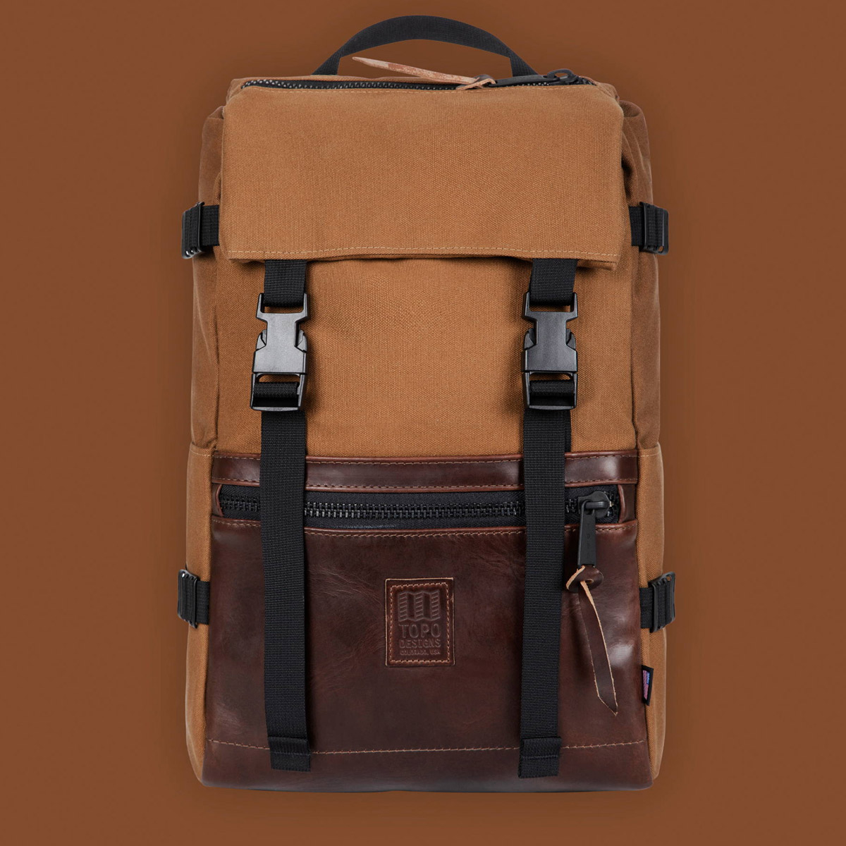Topo Designs Rover Pack Heritage Dark Khaki Canvas/Brown Leather, timeless backpack with great functionalities
