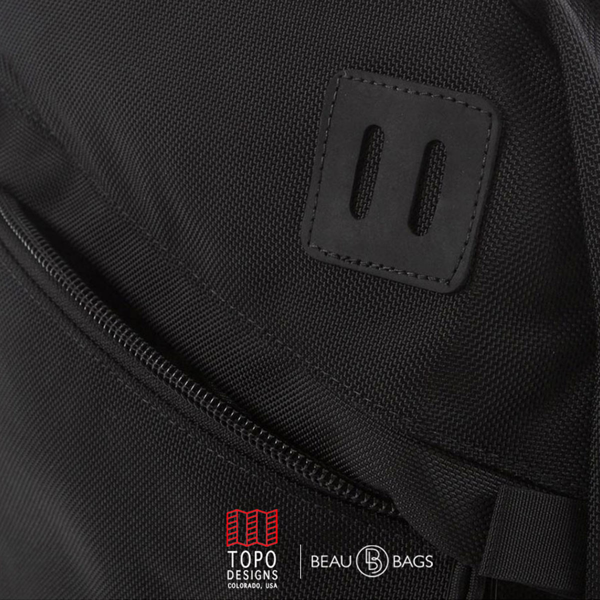 """Topo-Designs-Daypack-Ballistic-Black-Leather-detail-ballistic, ideal travel backpack with internal 15"""" laptop sleeve"""