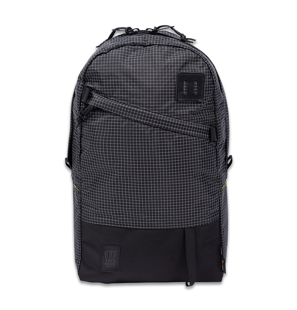 Topo Designs Daypack Black/White Ripstop, 1050d Ballistic Cordura, very lightweight, water-resistant Ripstop nylon