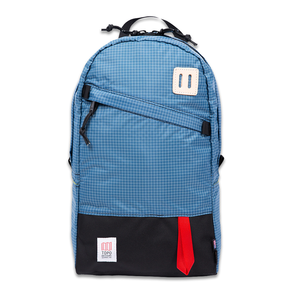 Topo Designs Daypack Blue/White Ripstop, 1050d Ballistic Cordura, very lightweight, water-resistant Ripstop nylon
