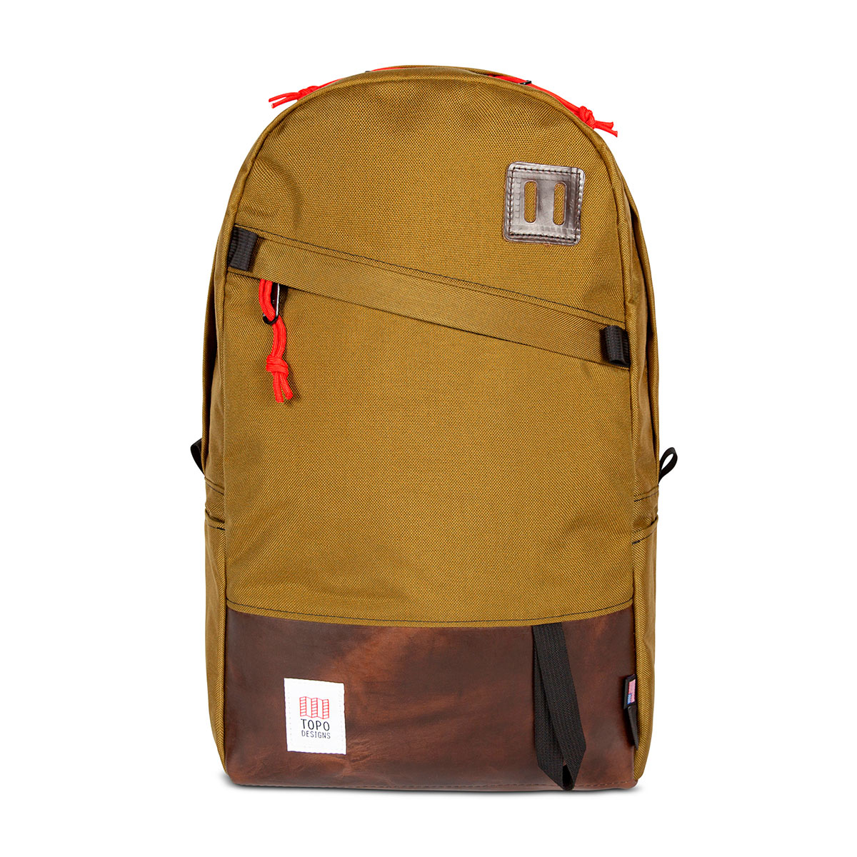 "Topo Designs Daypack Duck Brown/Dark Brown Leather, classic backpack in 1000d Cordura with 15"" laptopsleeve"