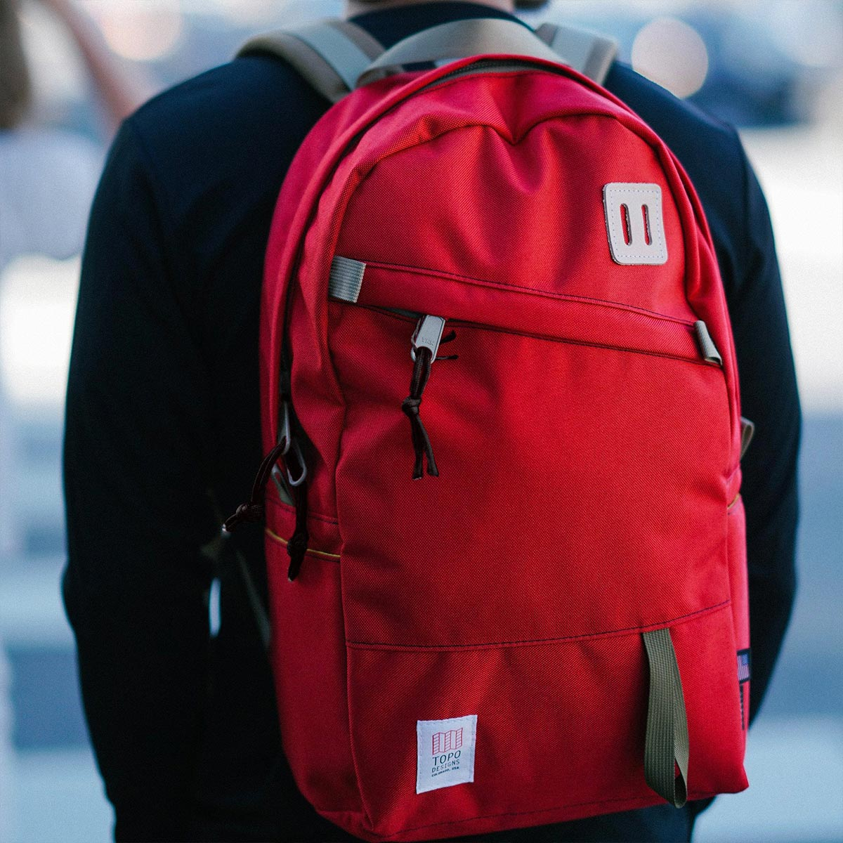 """Topo Designs Daypack backpack Red, ideal travel backpack with internal 15"""" laptop sleeve"""