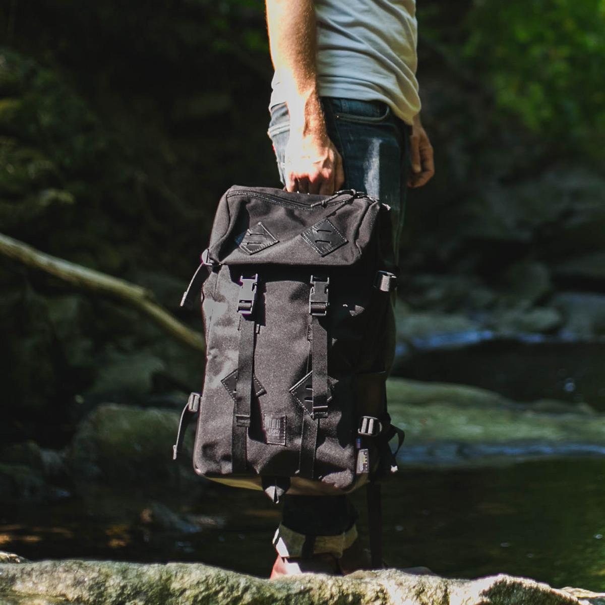 Topo Designs Klettersack Ballistic/Black Leather Lifestyle, ballistic backpack for men and women