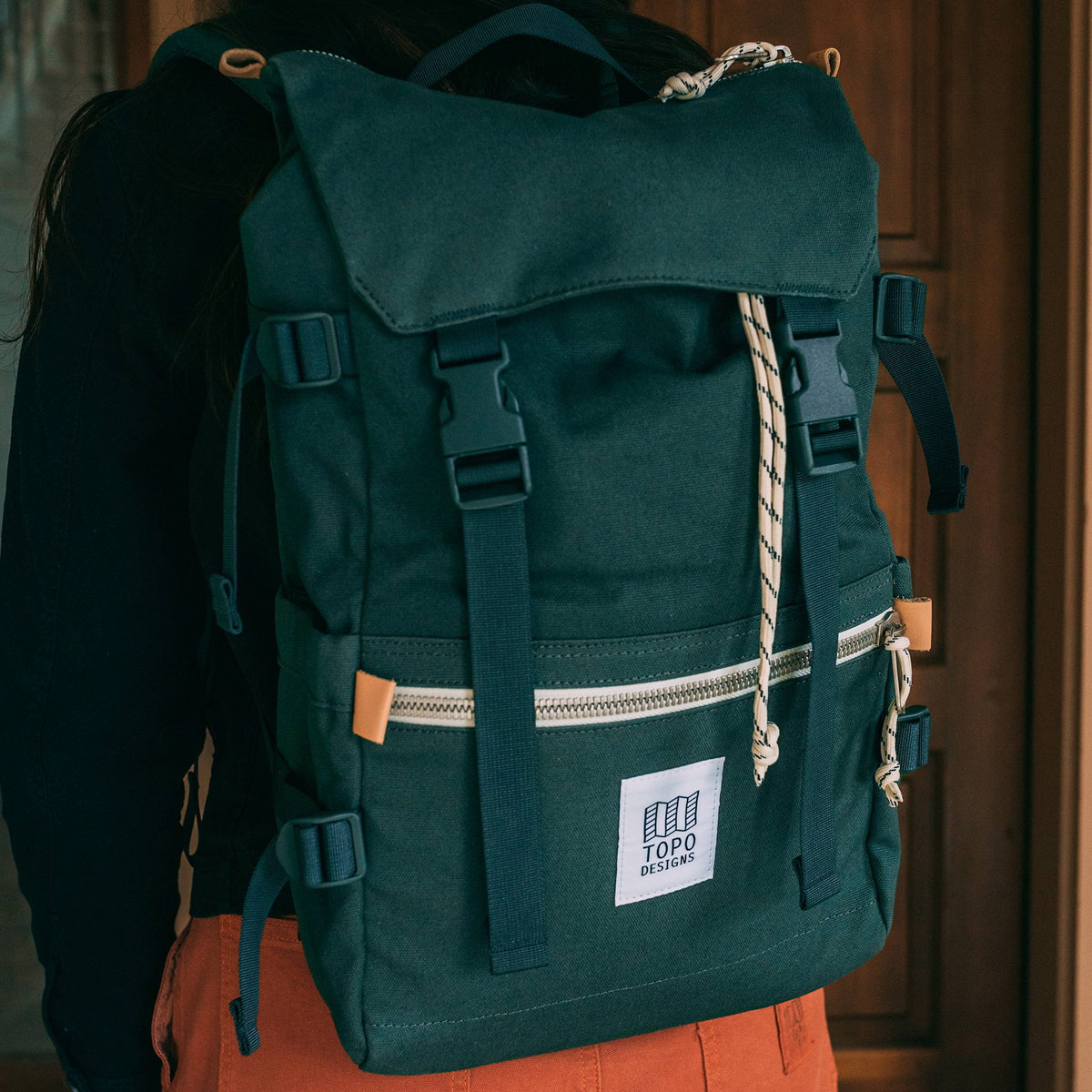 Topo Designs Rover Pack Canvas Forest, timeless styling and durable build with great functionality