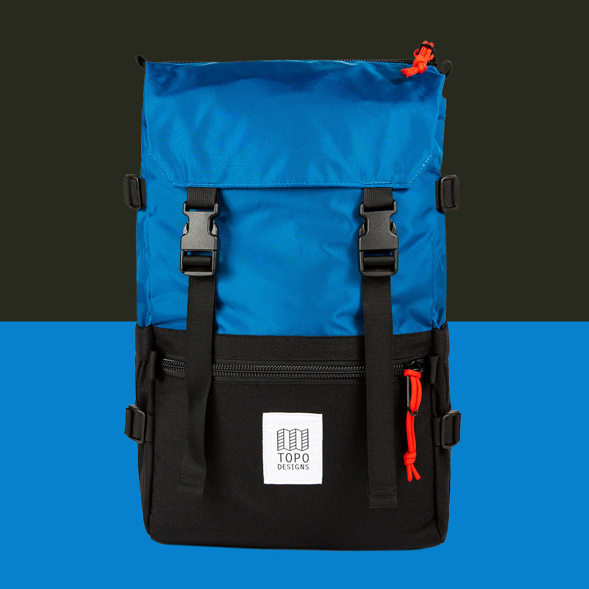 Topo Designs Rover Pack Classic Blue/Black, durable, lightweight and water-resistant pack for daily use
