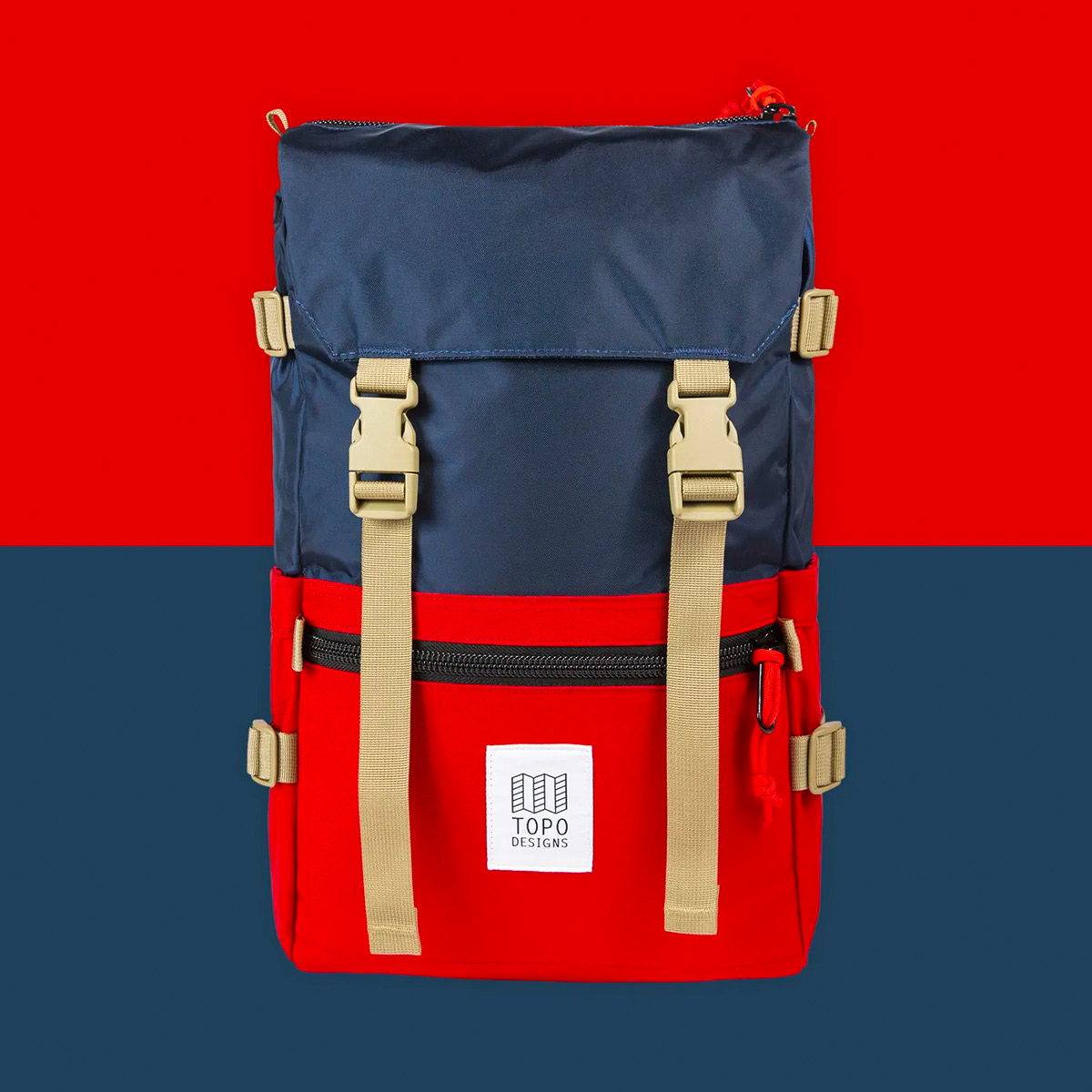 Topo Designs Rover Pack Classic Navy/Red, durable, lightweight and water-resistant pack for daily use