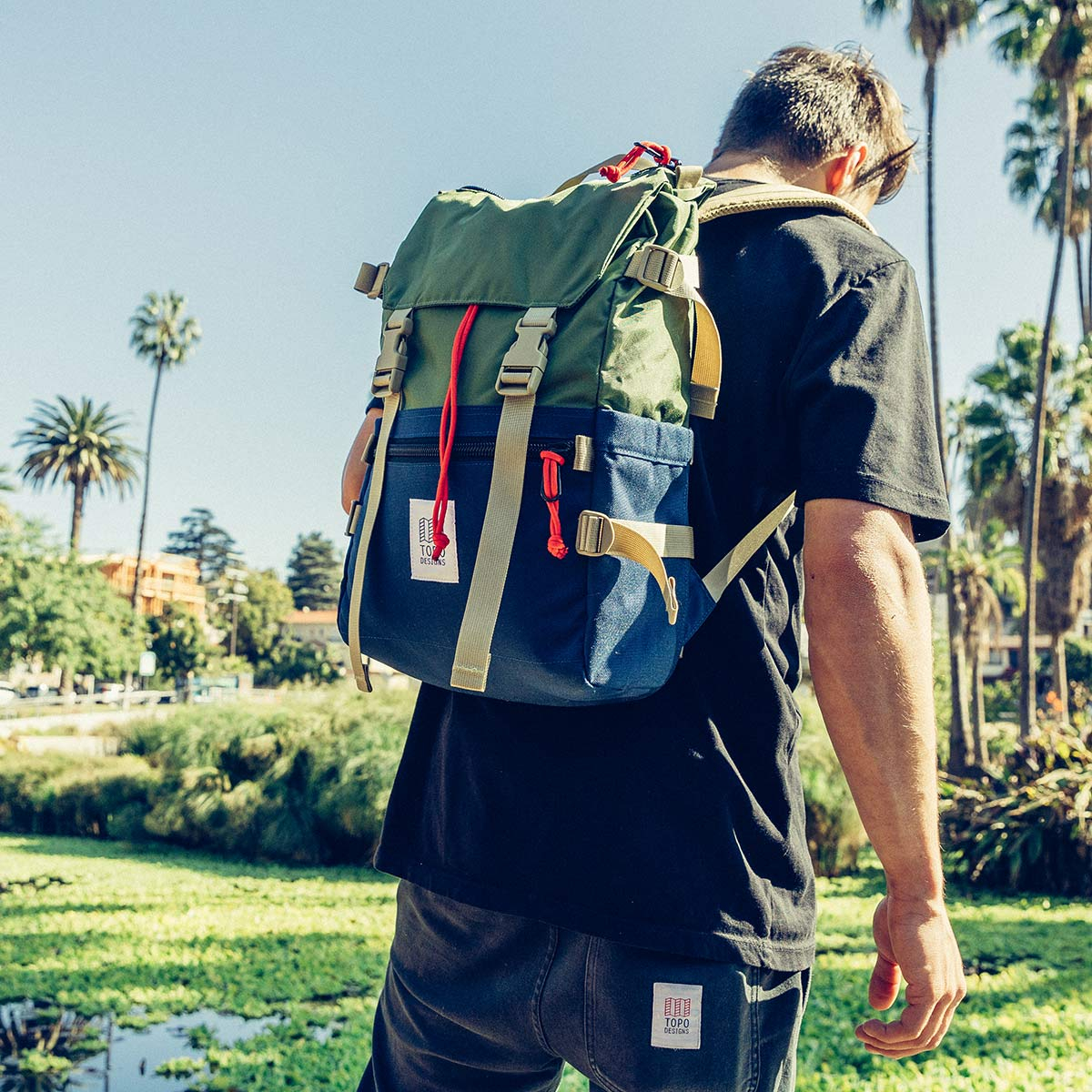 Topo Designs Rover Pack Classic Olive/Navy, durable, lightweight and water-resistant pack for daily use