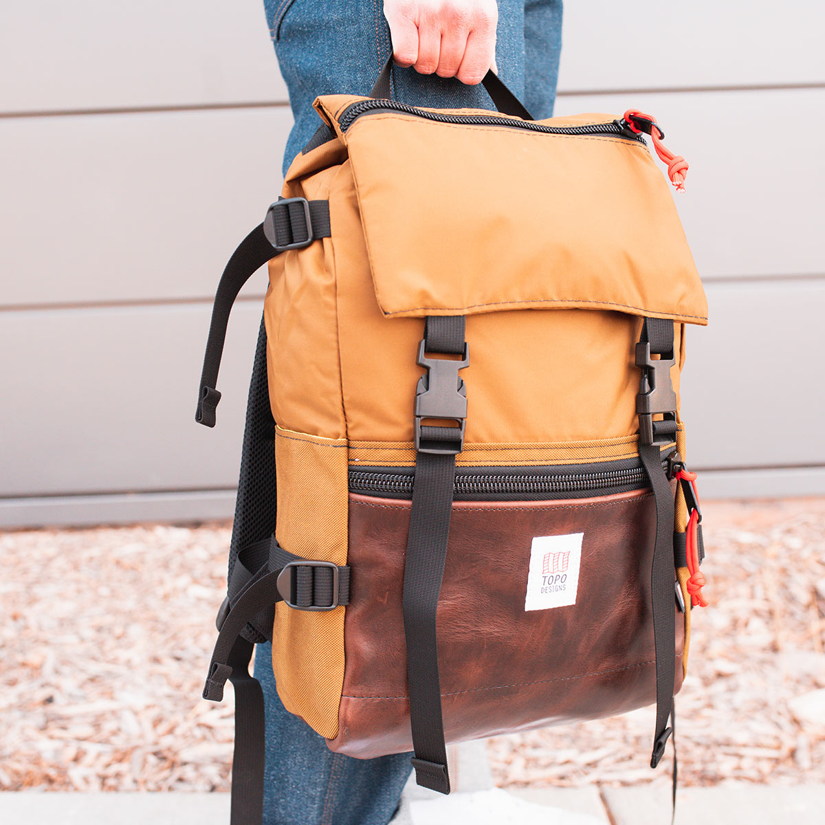 Topo Designs Rover Pack Heritage Duck Brown/Dark Brown Leather, timeless backpack with great functionalities