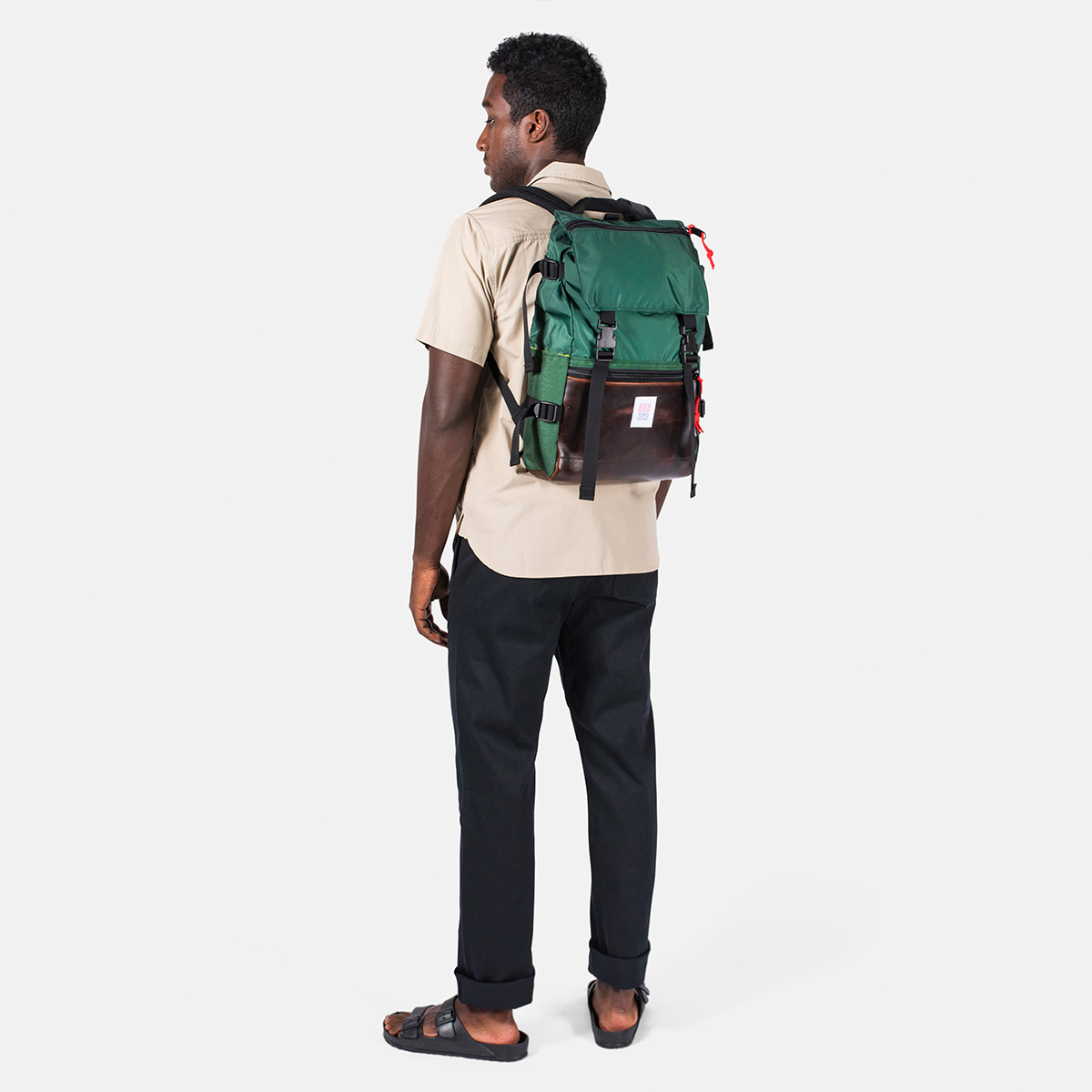 Topo Designs Rover Pack Heritage Forest/Brown Leather, timeless backpack with great functionalities