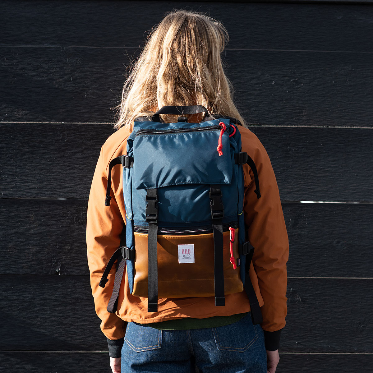 Topo Designs Rover Pack Heritage Navy/Brown Leather, durable, lightweight and water-resistant pack for daily use