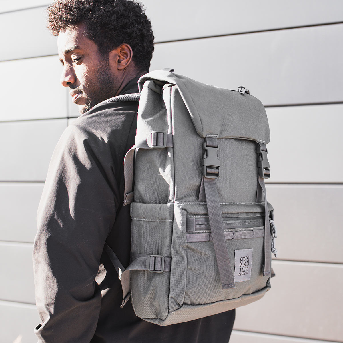Topo Designs Rover Pack Tech Charcoal, backpack built to work wherever you do