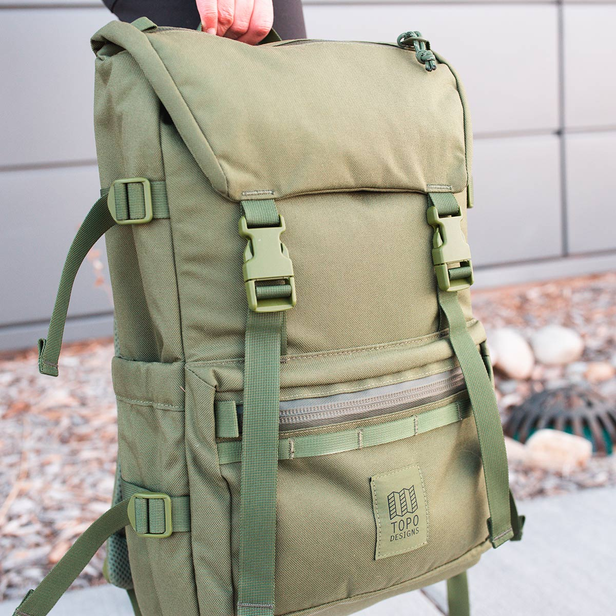 Topo Designs Rover Pack Tech Olive, durable, lightweight and water-resistant pack for daily use