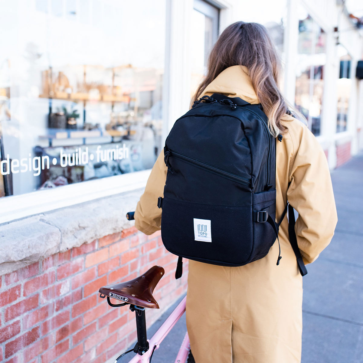 """Topo Designs Standard Pack Black, ideal travel backpack with external padded 15"""" laptop sleeve"""