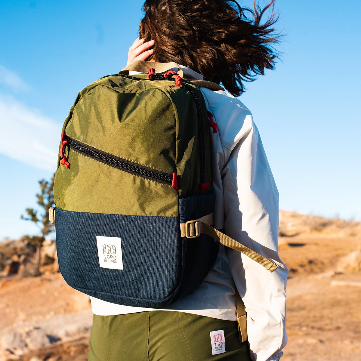 Topo Designs Standard backpack Olive/Navy, classic backpack in durable 1000D nylon
