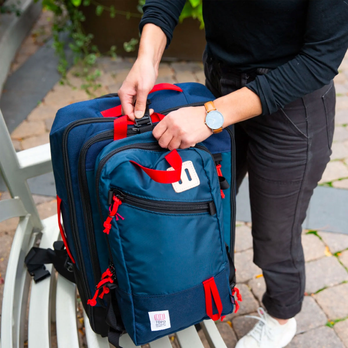 Topo Designs Trip Pack Navy, packfast bag attachment clips