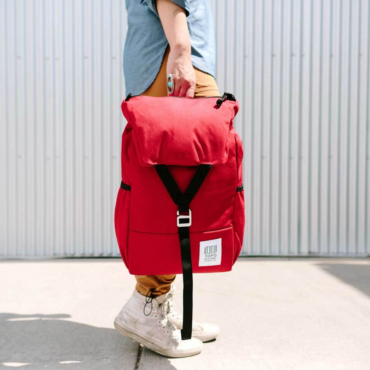 Topo Designs Y-Pack Red fuses classic style and modern functionality