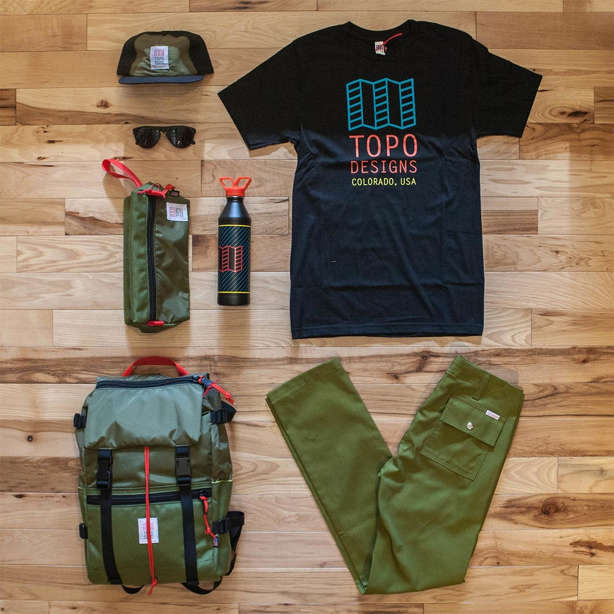 Topo Designs Dopp Kit Olive, water-resistant, travel light, accessory bag
