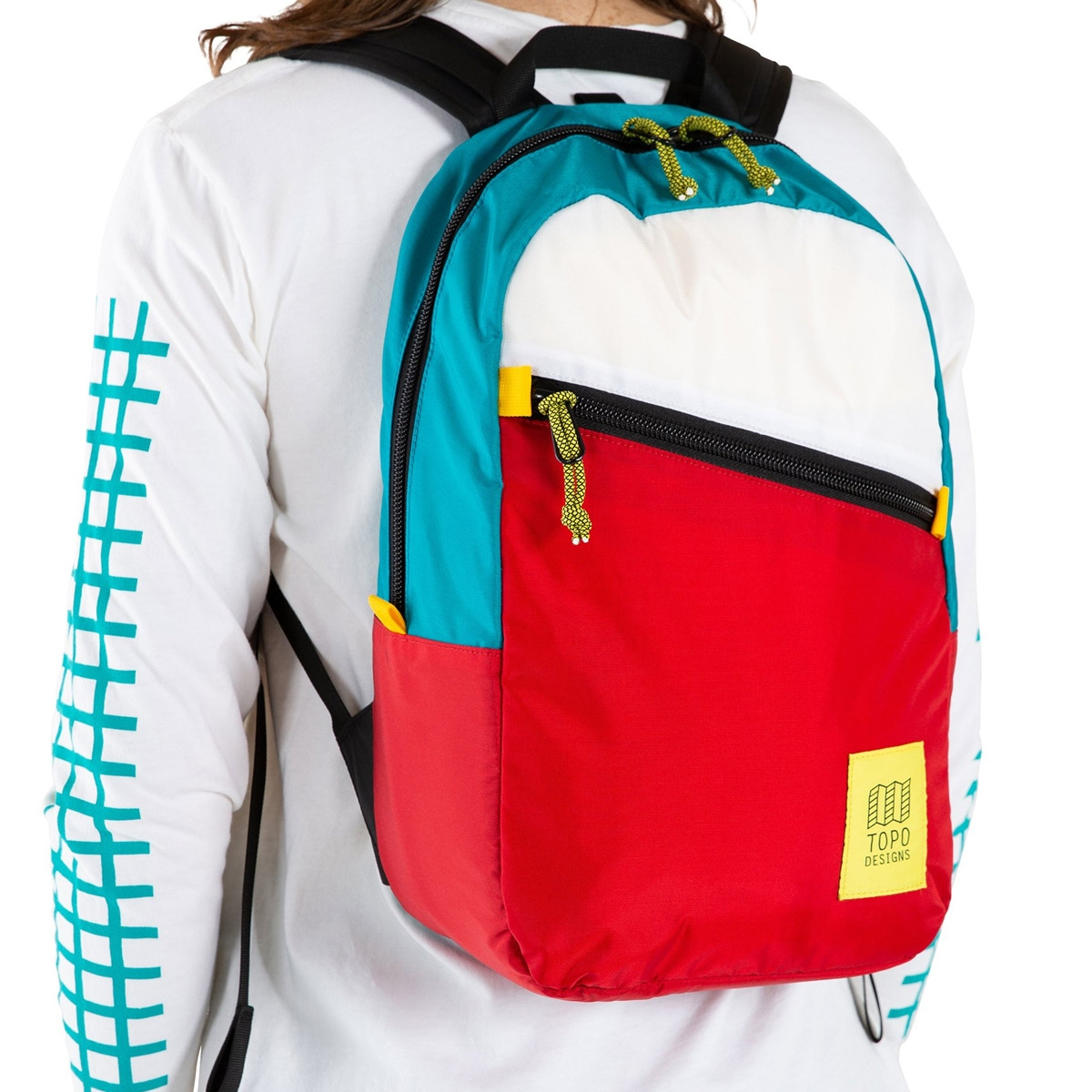 Topo Designs Light Pack White/Red/Turquoise , lightweight carry-all bag, also perfect pack for hiking