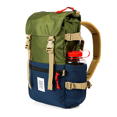 Topo Designs Rover Pack Classic, with waterbottle on the side