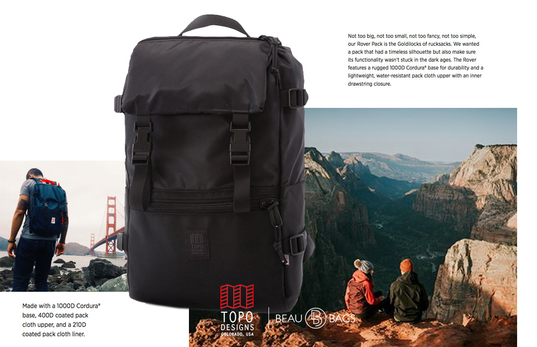 Topo Designs Rover Pack Ballistic Black, strong backpack with great functionality