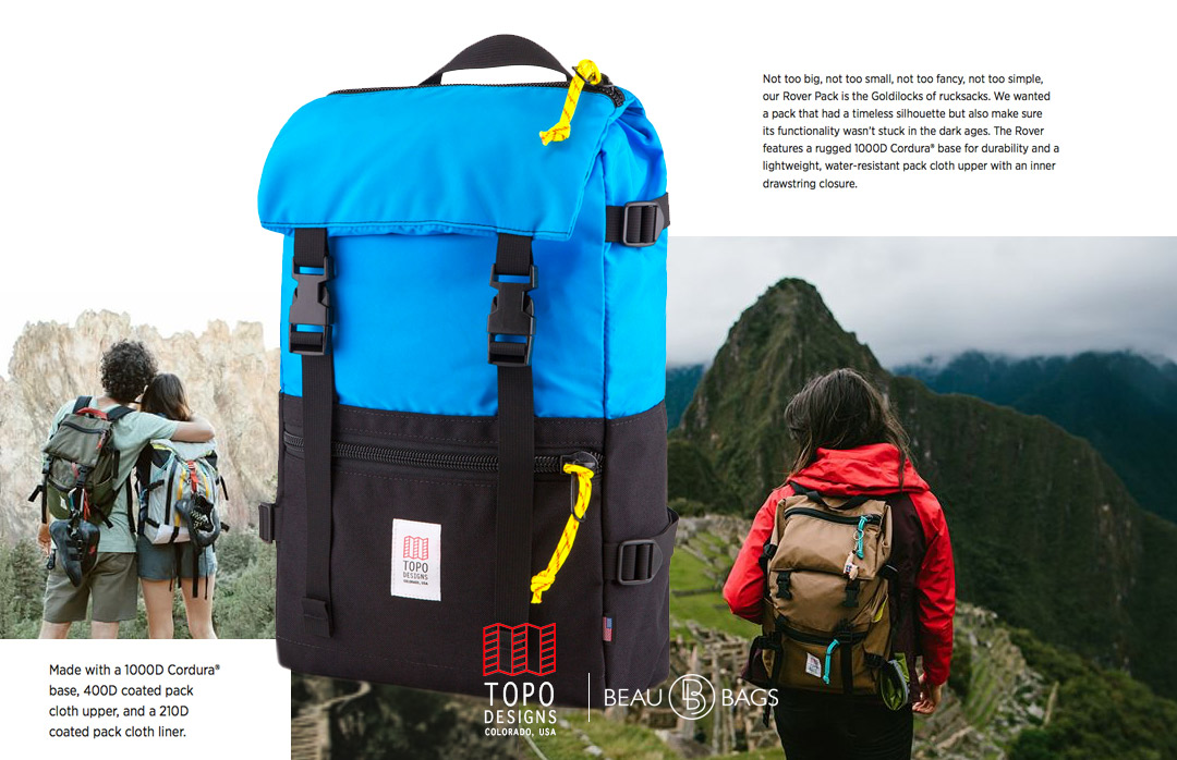 Topo Designs Rover Pack Royal Black, strong backpack with great functionality